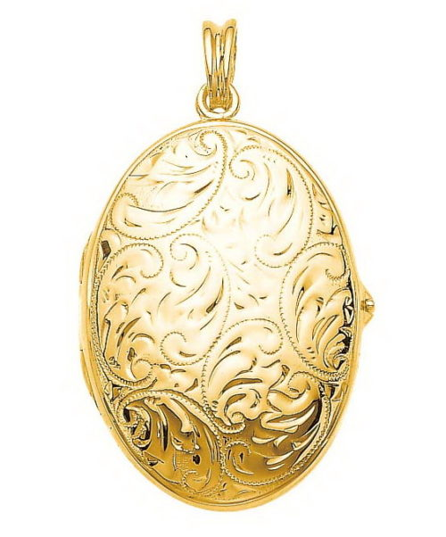 yellow gold, oval locket-pendant with viennese engraving