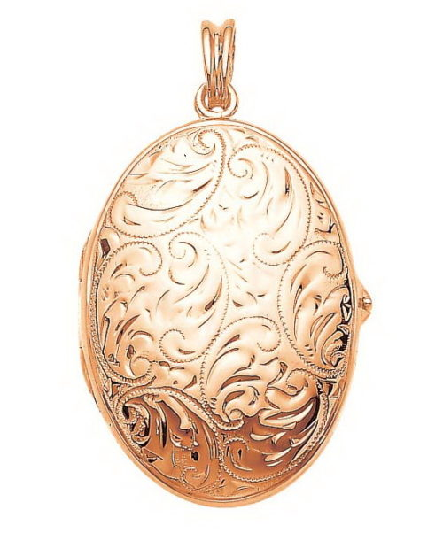 rose gold, oval locket-pendant with viennese engraving