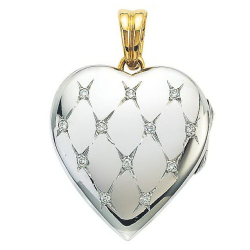 Diamond-set, white gold, heart-shaped locket-pendant