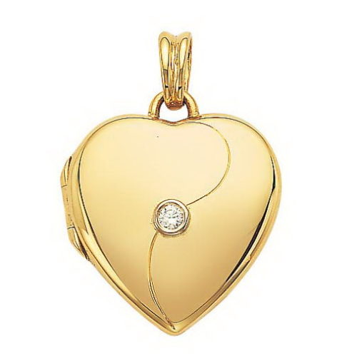 Diamond-set, yellow gold locket-pendant