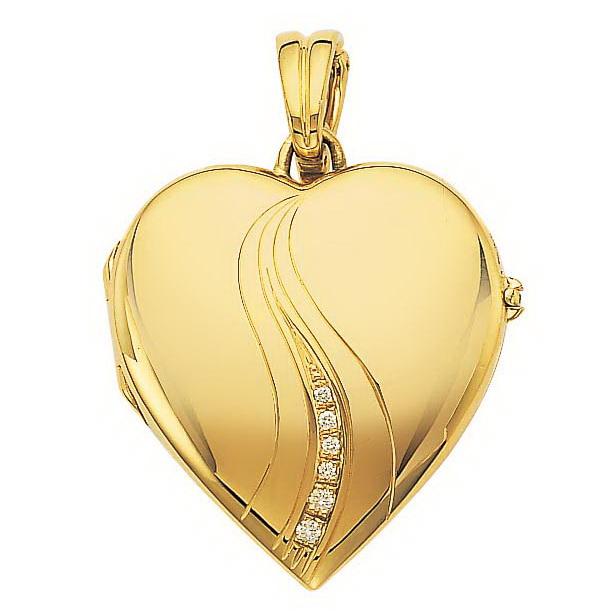 Diamond-set, yellow gold, heart-shaped locket-pendant
