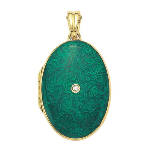 yellow gold, oval locket-pendant with emerald green enamel, set with a diamond