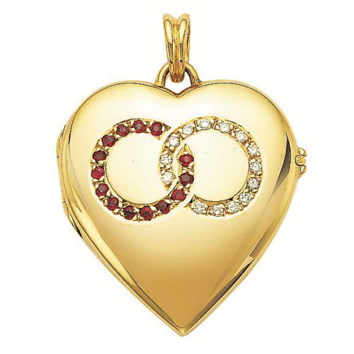 Diamond-set, yellow gold, heart-shaped locket-pendant with ruby