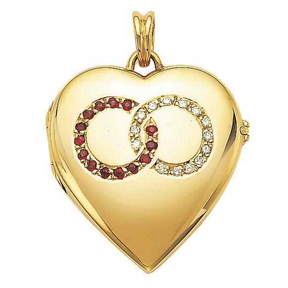 Diamond-set, yellow gold, heart-shaped locket-pendant with ruby