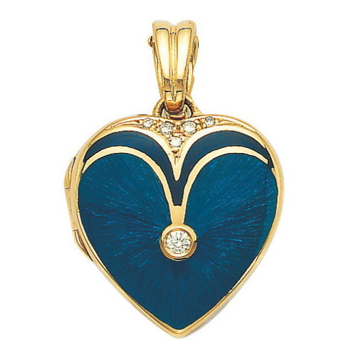yellow gold, heart-shaped, locket-pendant with medium blue guilloche enamel and diamonds