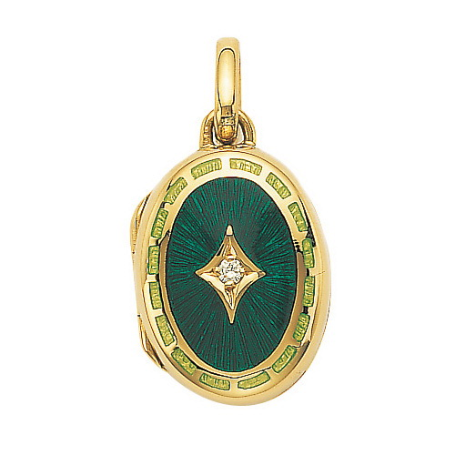 yellow gold, oval locket-pendant with emerald green enamel and diamonds