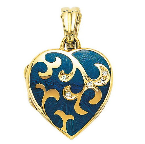 yellow gold, heart-shaped, locket-pendant with medium blue guilloche enamel