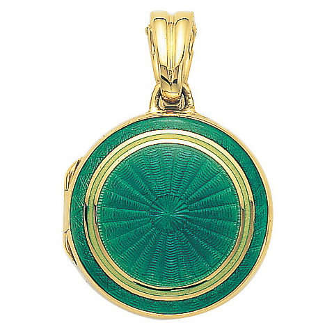 yellow gold, round locket-pendant wiht green and pastel green enamel on guilloche