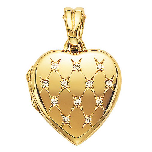 yellow gold, heart-shaped, locket-pendant with diamonds