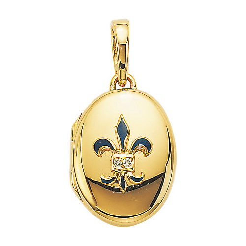 yellow gold, oval locket-pendant with blue enamel and diamonds