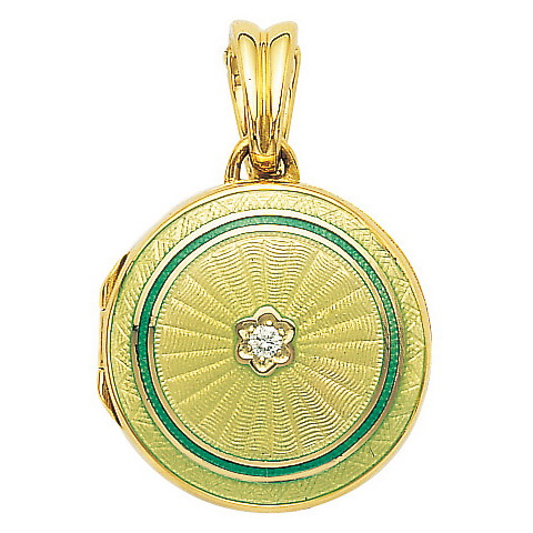 yellow gold, round, locket-pendant with pastel green and green enamel on guilloche and diamond