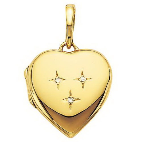 yellow gold, heart-shaped, locket-pendant with diamonds