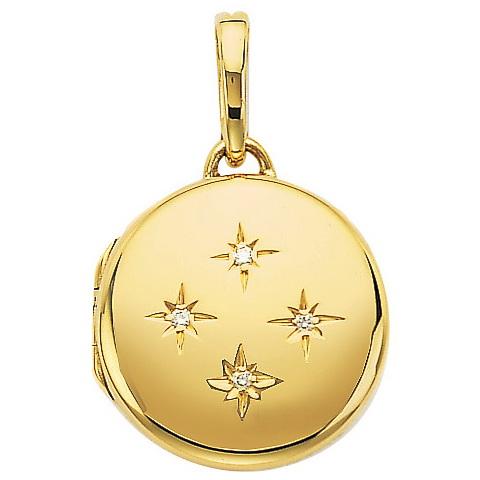 yeloow gold, round,  locket-pendant with diamonds