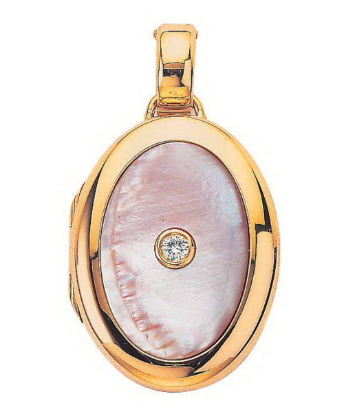 yellow gold, oval locket-pendant with diamond and pink cut pearl