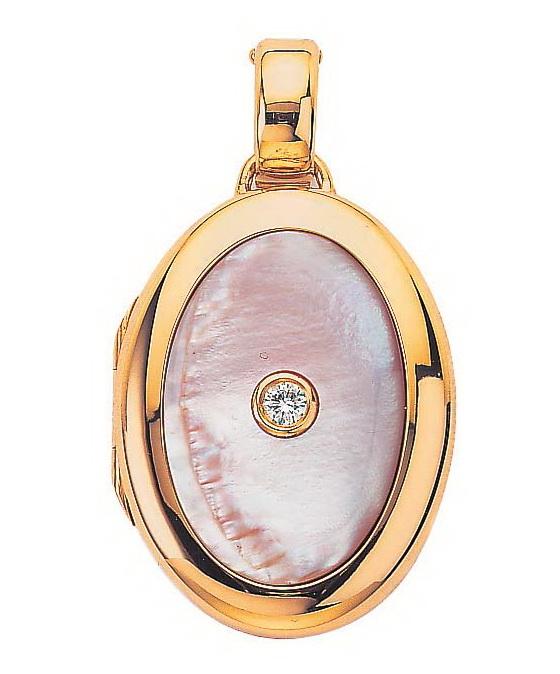 rose-goldener, ovaler, Medaillon-Anhänger mit Brillant und rosa Perlmutt