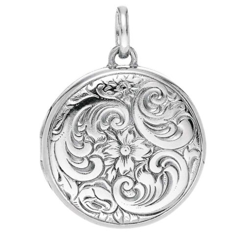 white gold, round locket-pendant with Viennese engraving