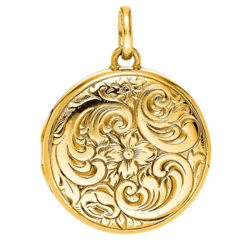 yellow gold, round locket-pendant with Viennese engraving
