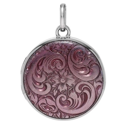 white gold, round locket-pendant with pink enamel and Viennese engraving