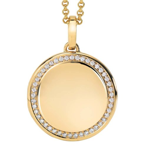 yellow gold, round, locket-pendant wit diamonds
