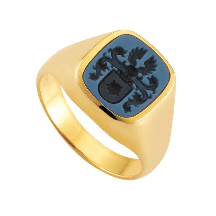 gelb-goldener Siegelring mit blauem Lagenonyx antik mit Gravur Vollwappen