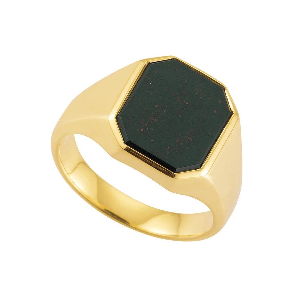 gelb-goldener Siegelring mit Heliotrop achteckig, ohne Gravur