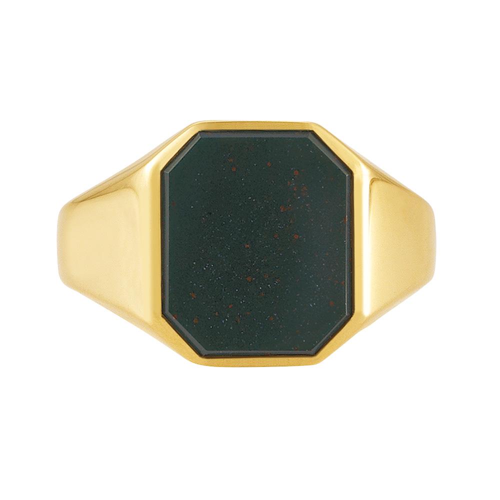 gelb-goldener Siegelring mit achteckigem grünen Heliotrop