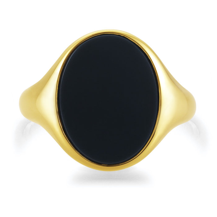 yellow-gold signet-ring with oval blue niccolo, without engraving