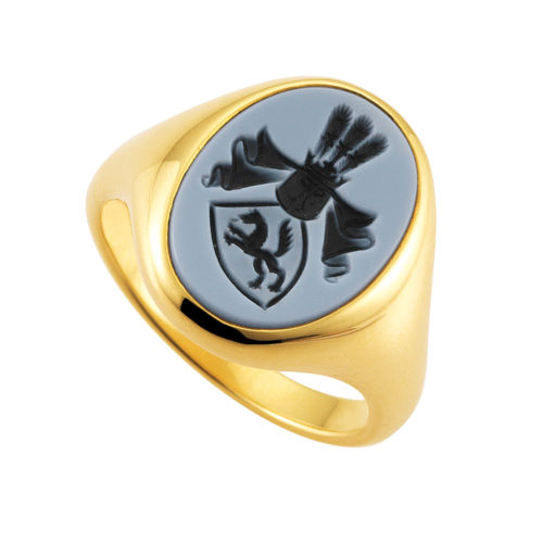 Yellow-gold signet-ring with oval blue niccolo with an engraved coat of arms