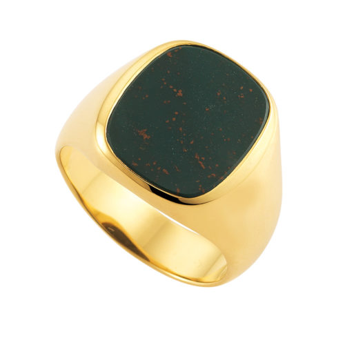 yellow gold signet-ring with cushion shaped heliotrope-bloodstone, without engraving