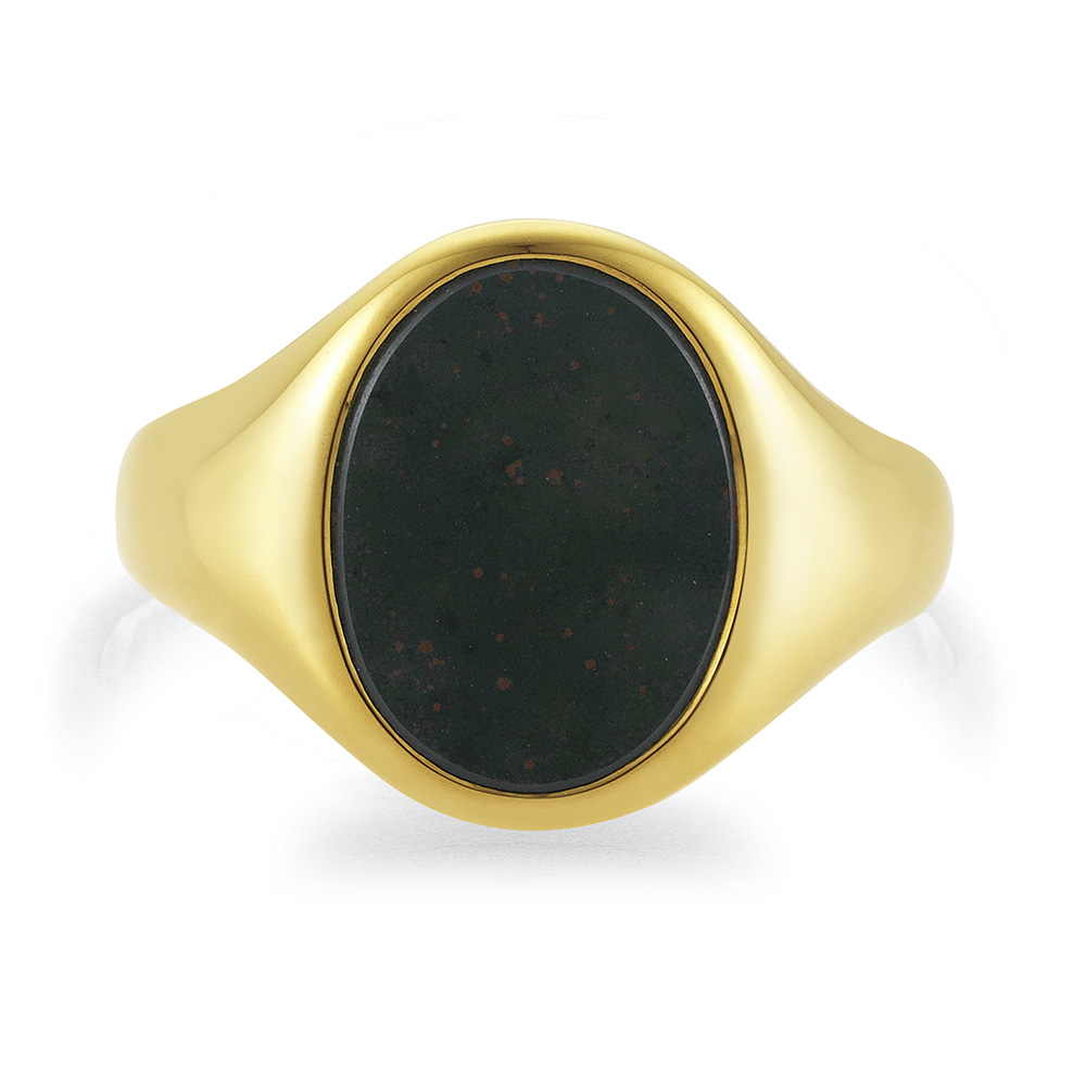yellow gold signet-ring with oval heliotrope-bloodstone, without engraving