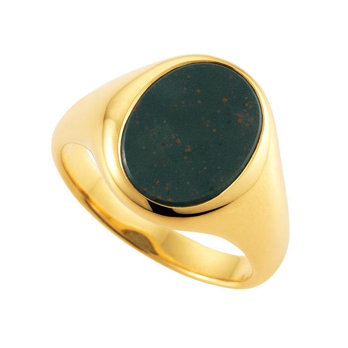 gelb-goldener Siegelring mit Heliotrop oval, ohne Gravur