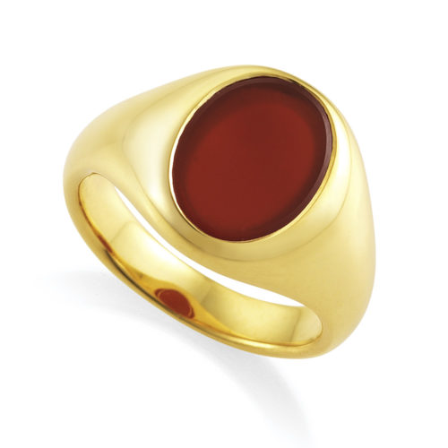 yellow gold signet ring with oval carnelian, without engraving