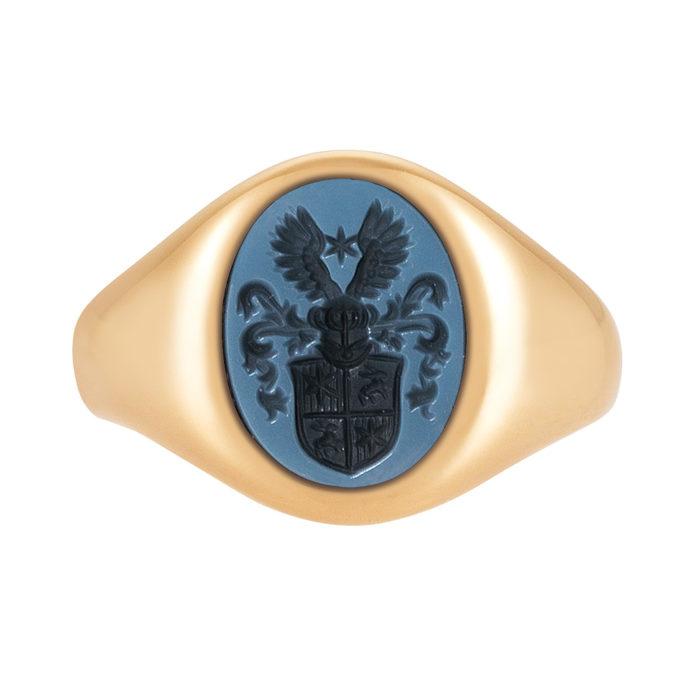 rose-goldener Siegelring mit ovalem blauen Lagenonyx und gravierten Vollwappen