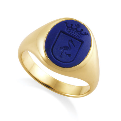 oval, rose gold signet ring with lapis lazuli with engraved shield and crown