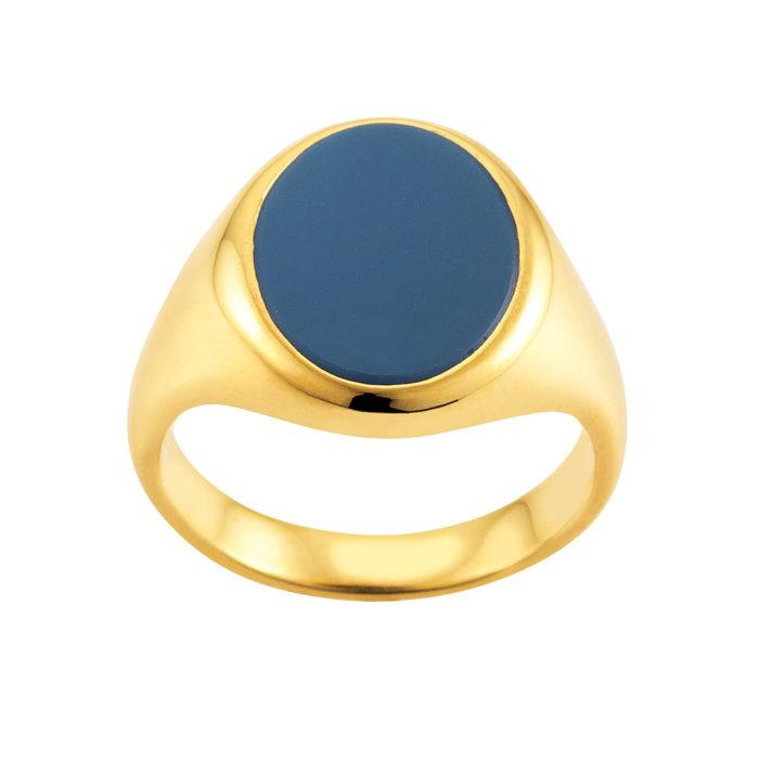 gelb-goldener Siegelring mit ovalem blauen Lagenonyx