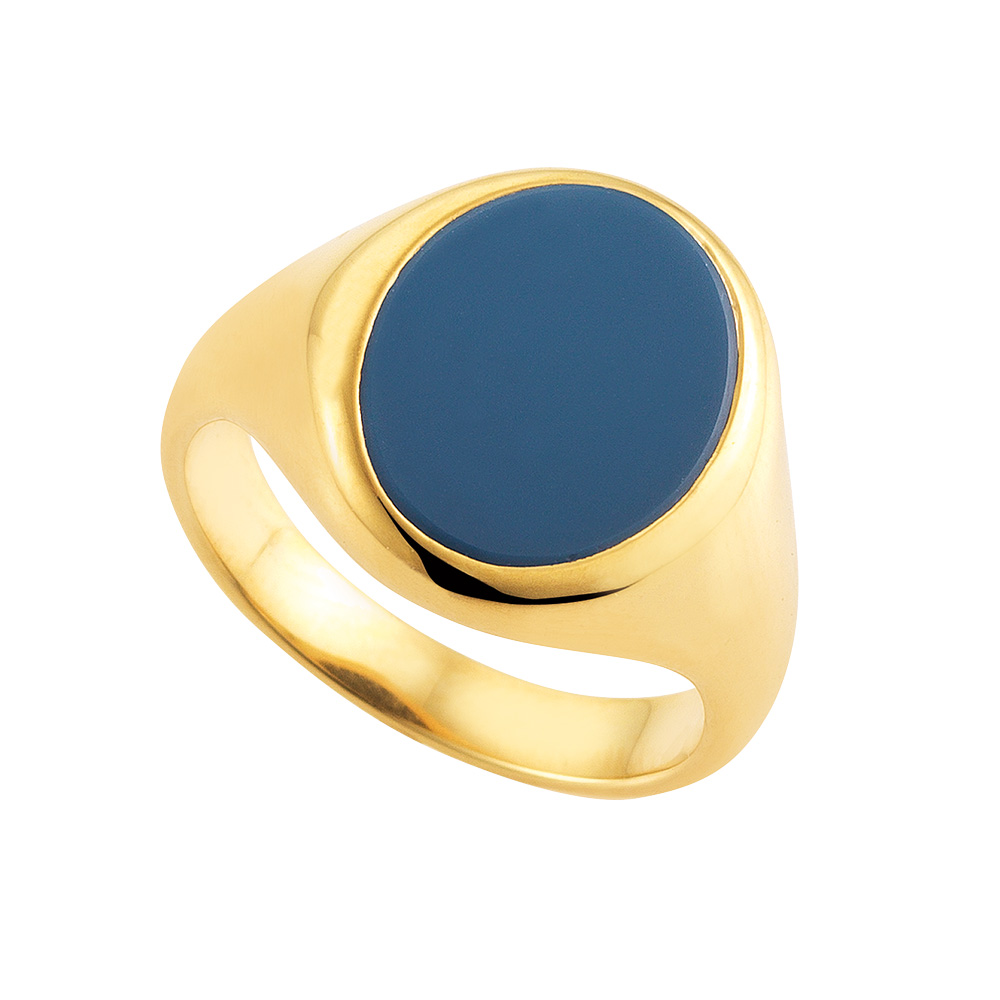 Yellow-gold, oval signet-ring with niccolo blue without engraving