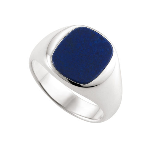 white gold, cushion shaped signet ring with lapis lazuli