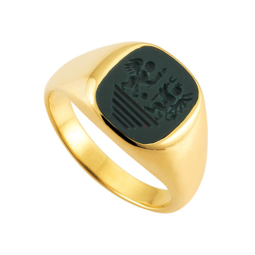 yellow-gold signet ring with a cushio shaped heliotrope-bloodstone with engraving angel and devil
