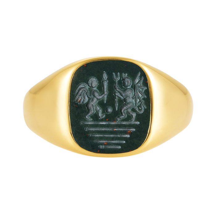 gelb-goldener Siegelring mit antikem grünen Heliotrop und Gravur