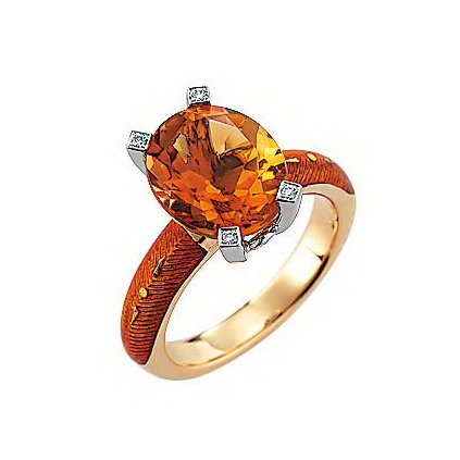 Diamond-set, yellow-white gold ring with autumn yellow guilloche enamel and Palmeira citrine