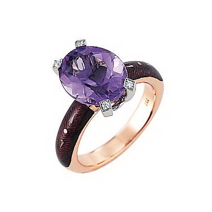 Diamond-set, rose-white gold ring with lilac guilloche enamel and amethyst