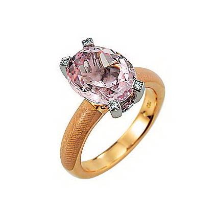 Diamant-besetzter Gold-Ring mit opalweiß emailliertem Guilloche und Morganit