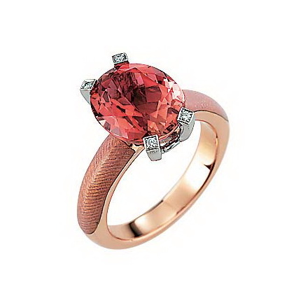 Diamond-set, rose-white gold ring with opal white guilloche enamel and pink tourmaline