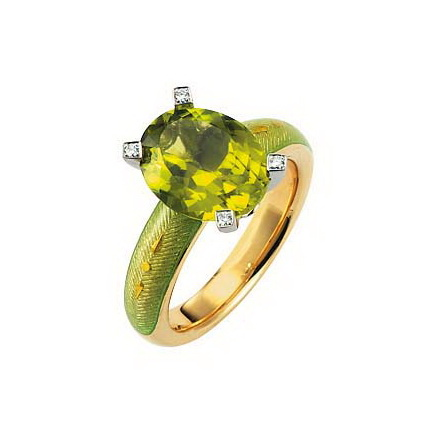 Diamond-set, yellow-white gold ring with pastel green guilloche enamel and green tourmaline