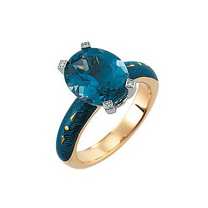 Diamond set, yellow-white gold ring with petrol guilloche enamel and blue topaz