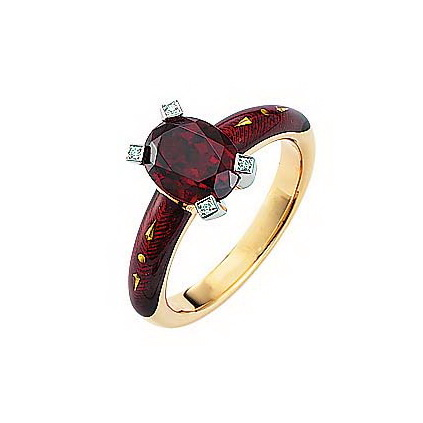 Diamond-set, yellow-white gold ring with aubergine red guilloche enamel and ceylon garnet