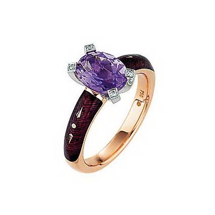 Diamant-besetzter Gold-Ring mit lila emailliertem Guilloche und Amethyst