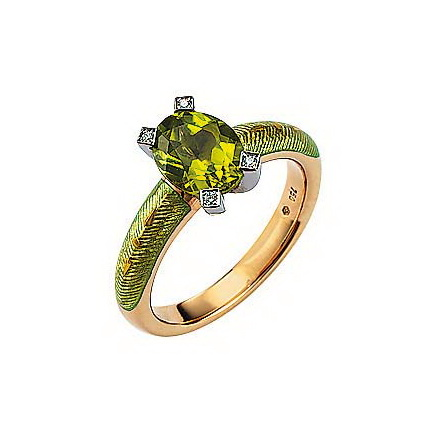 Diamond-set, yellow-white gold ring with pastel green guilloche enamel and peridot