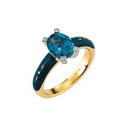 Diamond-set, yellow-white gold ring with petrol guilloche enamel and blue topaz