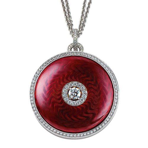 Diamond-set, yellow-white-gold pendant with aubergine red guilloche enamel